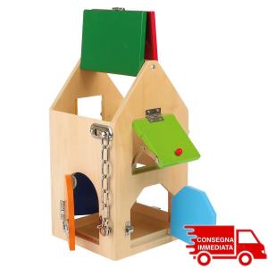 Casa delle chiusure giocattolo Montessori con lucchetti