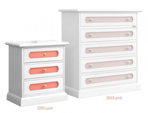 Table de chevet 3 tiroirs avec plexiglass rose