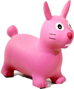 Cavalcabile gonfiabile coniglio Happy Giampy Rosa