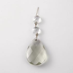 Mandorla in cristallo di Boemia colore grigio altezza 50 mm con 2 ottagoni in cristallo.