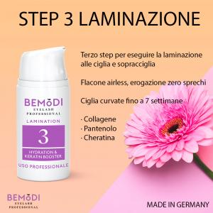 Step 3 SERUM con Keratina e Collagene, Laminazione Ciglia e Sopracciglia, BeModi