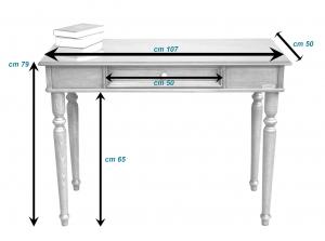 Lackierter Schreibtisch mit Holzgravur