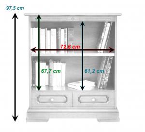 Librería baja con cajón en madera de artesanado