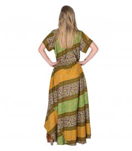 Robe ethnique ample manches courtes | Robes indiennes en soie