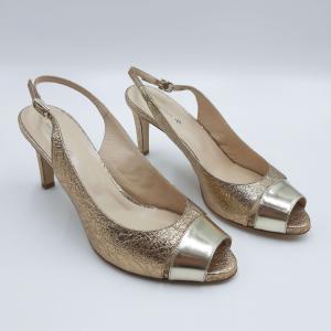 Sandalo open toe laminato oro Guido Sgariglia