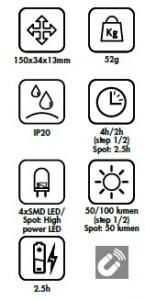 Lampada SMD LED ricaricabile portatile a penna Lti 65981010