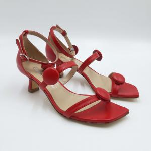 Sandalo rosso con tacco a rocchetto Emanuela Passeri
