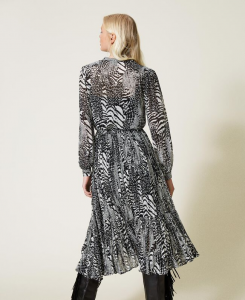 SHOPPING ON LINE TWINSET MILANO ABITO LUNGO IN CREPONNE ANIMALIER NEW COLLECTION PREVIEW FALL WINTER 2022