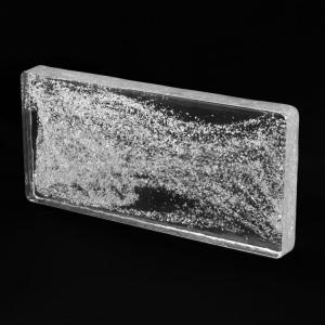 Blocco tavella mattone in vetro di Murano trasparente con glitter argento