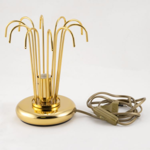 Montatura lumetto a pioggia, 1 luce, finitura oro, altezza 22 cm  con 10 zampilli forati.