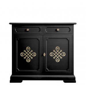 Black sideboard with golden friezes