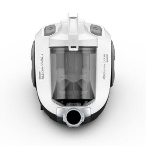 Rowenta Swift Power RO2957 Aspirapolvere a Traino Senza Sacco, Tecnologia Ciclonica, Design Compatto, Leggero, Filtro ad Alta efficienza, 77 Decibel, Acciaio, Bianco