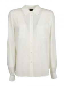 Camicia Nora 1 in crêpe de chine bianca Pinko
