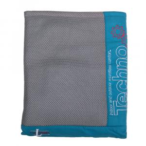 Türkisfarbener Unisex-Bademantel aus Techno-Mikrofaser mit Kapuze und Gürtel