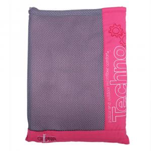 Techno-Mikrofaser-Kapuzenbademantel mit Gürtel und Fuchsia Frau