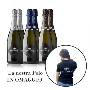Confezione Regalo 6 bottiglie Prosecco DOC Treviso con Polo Follador Prosecco in regalo