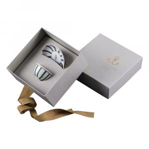 Bolo con piatto in giftbox GCV   Striche Verdi e Oro