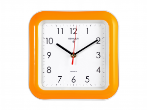 HOME Orologio Parete Quadrato Arancio Cm22 Arredo E Decorazioni Casa