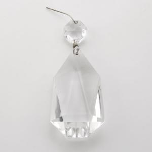 Pendente cristallo di Boemia H 80 mm con ottagono. Per restauri antichi e ricambi vintage.