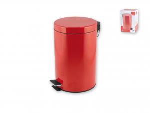 HOME Pattumiera in acciaio Inox Colore Rosso Con Pedale Lt 5 -903979