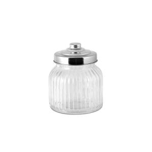 HOME Set 6 Barattoli vetro righe tappo vetro inox cc750 contenitore cucina