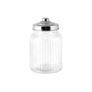 HOME Set 6 Barattoli vetro righe tappo vetro inox cc1075 barattolo da cucina