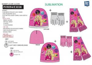 SUNCITY Set 3 Pcs Sciarpa+Guanti+Cappellino Barbie Cappellino / Sciarpa Guanti 257