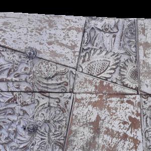 Credenza in legno di palissandro 2 cassetti e 2 ante white wash frontale vecchi timbri indiani