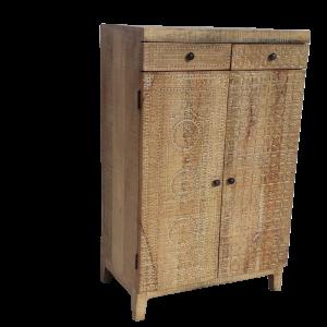 Credenza in legno di mango intagliato finitura antique brown wash
