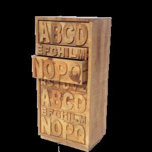 Cassettiera 7 cassetti in legno di mango