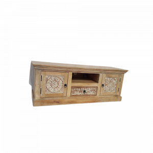 Porta Tv in legno di mango decapato avorio con 2 ante 1 ripiano 1 cassetto