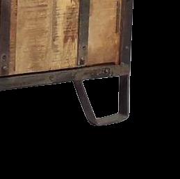 Credenza 4 ante in legno di mango recuperato con bordi e maniglie in ferro