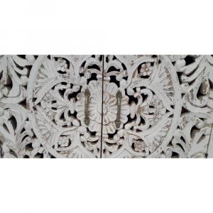 Buffet in legno di palissandro indiano decapato white con rosone intagliato e maniglie in ottone
