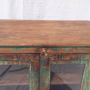 Credenza bassa / vetrinetta in legno di teak recuperato green