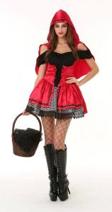 Vestito cappuccetto rosso elegante accessorio carnevale e feste