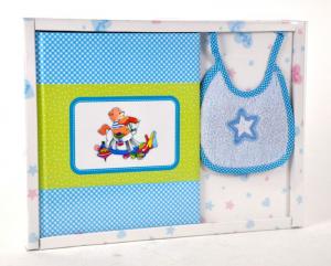 MARELI Kit album con bavaglino azzurro ricordi nascita