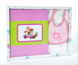 MARELI Kit album con bavaglino rosa ricordi nascita