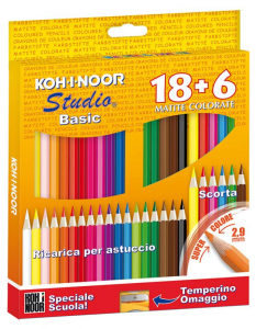 KOHINOOR Astuccio 18 Pastelli A Matita Colorati Con 6 Pastelli Di Scorta Dei