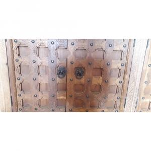 Buffet in legno di palissandro indiano brown wash con 4 ante forziere