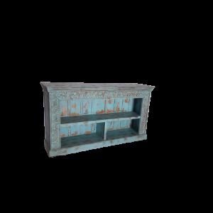 Libreria bassa / consolle in legno recuperato color azzurro carta da zucchero