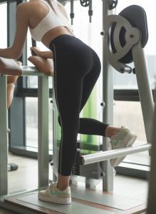 Leggins sportivo in cotone elasticizzato con cucitura laterale