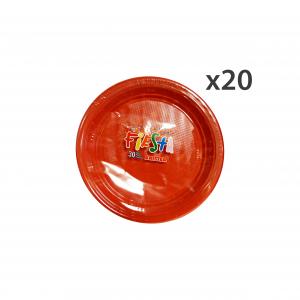 ARISTEA Set 20 Piatti Colorato PIANI 30 Pezzi Rosso ART.165201 Piatti