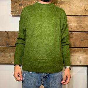 Maglione Amish Supplies Uomo in Lana Mohair a Girocollo Verde Militare