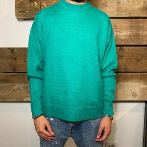 Maglione Amish Supplies Uomo in Lana Mohair a Girocollo Verde Smeraldo