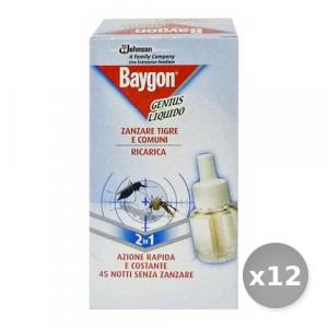 Set 12 BAYGON Genius Fornello Ricarica Articoli per Insetti