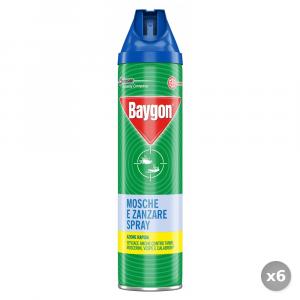 Set 6 BAYGON Mosche e Zanzare Spray 400 ml Articoli per Insetti