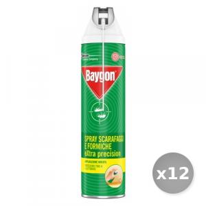 Set 12 BAYGON Scarafaggi/formiche spray extra precision con cannuccia 400 ml