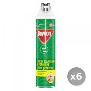 Set 6 BAYGON Scarafaggi/formiche spray extra precision con cannuccia 400 ml