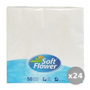 Set 24 Soft Fiore Bianchi 33x33 2 Veli * 50 Pezzi Tovaglioli Accessori per la Tavola