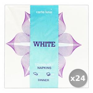 Set 24 SOFT FLOWER Soft Fiore Bianchi 38x38 2 Veli Tovaglioli Accessori per la Tavola